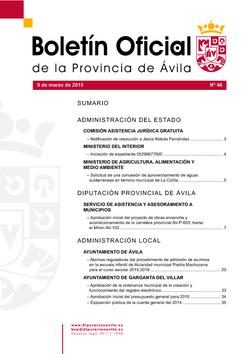 Boletín Oficial de la Provincia del lunes, 9 de marzo de 2015