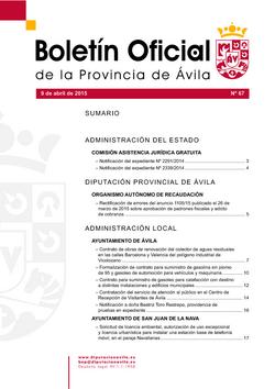Boletín Oficial de la Provincia del jueves, 9 de abril de 2015