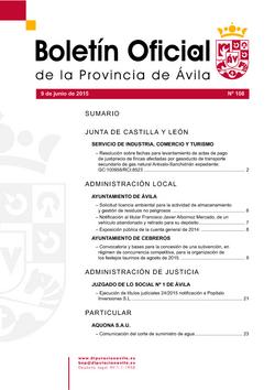 Boletín Oficial de la Provincia del martes, 9 de junio de 2015