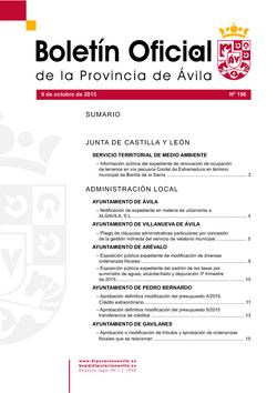 Boletín Oficial de la Provincia del viernes, 9 de octubre de 2015