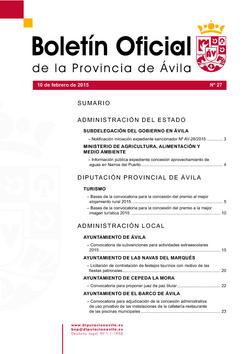 Boletín Oficial de la Provincia del martes, 10 de febrero de 2015