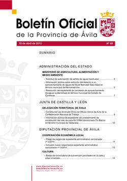 Boletín Oficial de la Provincia del viernes, 10 de abril de 2015
