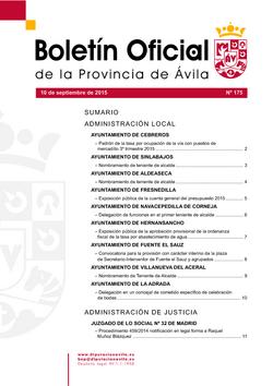 Boletín Oficial de la Provincia del jueves, 10 de septiembre de 2015
