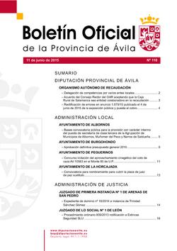 Boletín Oficial de la Provincia del jueves, 11 de junio de 2015