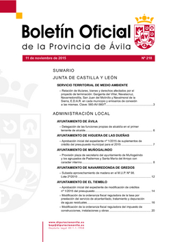 Boletín Oficial de la Provincia del miércoles, 11 de noviembre de 2015