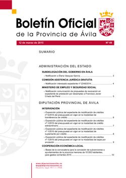 Boletín Oficial de la Provincia del jueves, 12 de marzo de 2015