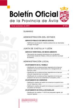 Boletín Oficial de la Provincia del jueves, 12 de noviembre de 2015