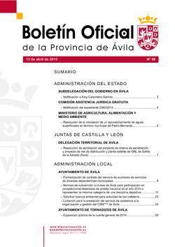 Boletín Oficial de la Provincia del lunes, 13 de abril de 2015