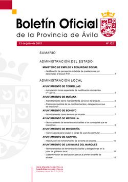 Boletín Oficial de la Provincia del lunes, 13 de julio de 2015