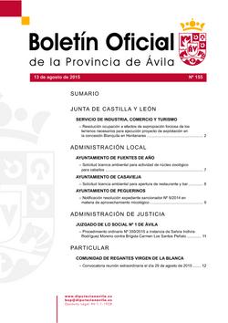 Boletín Oficial de la Provincia del jueves, 13 de agosto de 2015