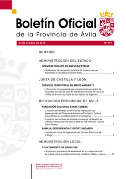 Boletín Oficial de la Provincia del martes, 13 de octubre de 2015