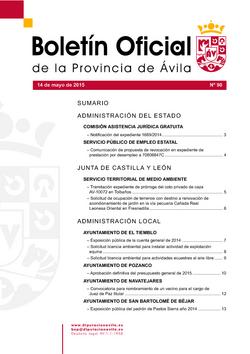 Boletín Oficial de la Provincia del jueves, 14 de mayo de 2015