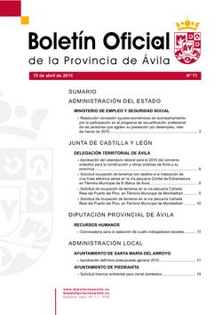Boletín Oficial de la Provincia del miércoles, 15 de abril de 2015