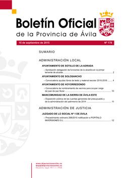 Boletín Oficial de la Provincia del martes, 15 de septiembre de 2015
