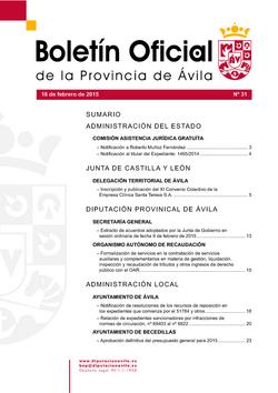 Boletín Oficial de la Provincia del lunes, 16 de febrero de 2015