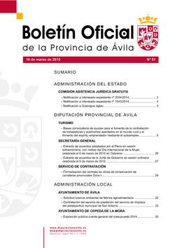 Boletín Oficial de la Provincia del lunes, 16 de marzo de 2015