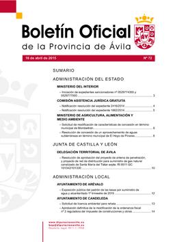 Boletín Oficial de la Provincia del jueves, 16 de abril de 2015