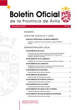 Boletín Oficial de la Provincia del jueves, 16 de julio de 2015