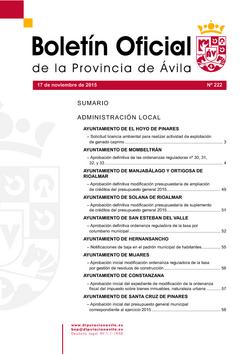 Boletín Oficial de la Provincia del martes, 17 de noviembre de 2015
