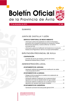 Boletín Oficial de la Provincia del jueves, 17 de diciembre de 2015