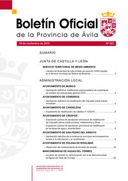 Boletín Oficial de la Provincia del miércoles, 18 de noviembre de 2015