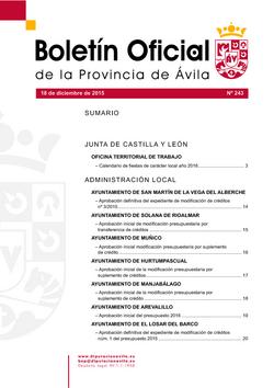 Boletín Oficial de la Provincia del viernes, 18 de diciembre de 2015