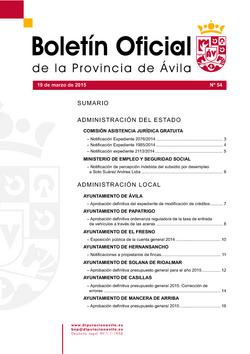 Boletín Oficial de la Provincia del jueves, 19 de marzo de 2015