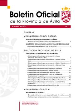 Boletín Oficial de la Provincia del lunes, 20 de abril de 2015