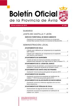 Boletín Oficial de la Provincia del martes, 20 de octubre de 2015
