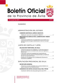 Boletín Oficial de la Provincia del martes, 21 de abril de 2015