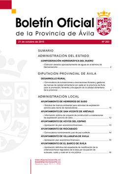 Boletín Oficial de la Provincia del miércoles, 21 de octubre de 2015