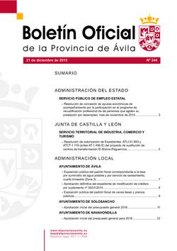 Boletín Oficial de la Provincia del lunes, 21 de diciembre de 2015