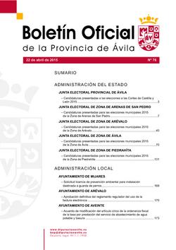 Boletín Oficial de la Provincia del miércoles, 22 de abril de 2015