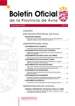 Boletín Oficial de la Provincia del lunes, 22 de junio de 2015
