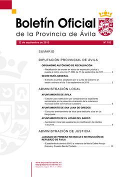 Boletín Oficial de la Provincia del martes, 22 de septiembre de 2015