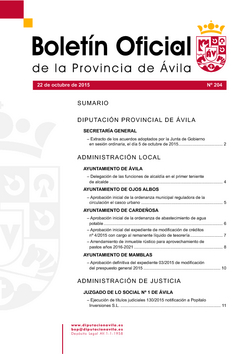 Boletín Oficial de la Provincia del jueves, 22 de octubre de 2015