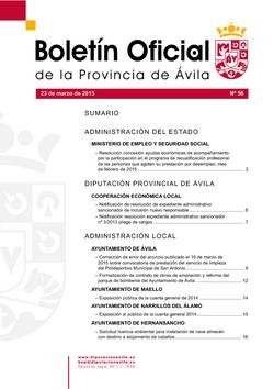Boletín Oficial de la Provincia del lunes, 23 de marzo de 2015