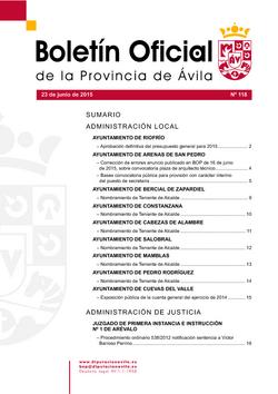 Boletín Oficial de la Provincia del martes, 23 de junio de 2015