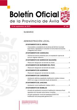 Boletín Oficial de la Provincia del miércoles, 23 de septiembre de 2015