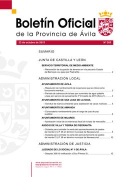 Boletín Oficial de la Provincia del viernes, 23 de octubre de 2015