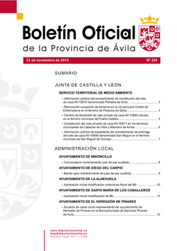 Boletín Oficial de la Provincia del lunes, 23 de noviembre de 2015
