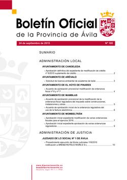 Boletín Oficial de la Provincia del jueves, 24 de septiembre de 2015