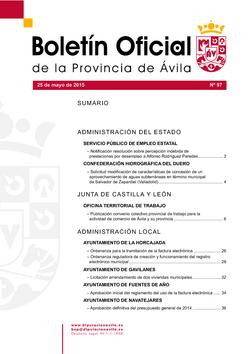 Boletín Oficial de la Provincia del lunes, 25 de mayo de 2015