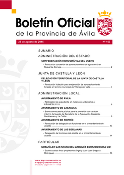 Boletín Oficial de la Provincia del martes, 25 de agosto de 2015