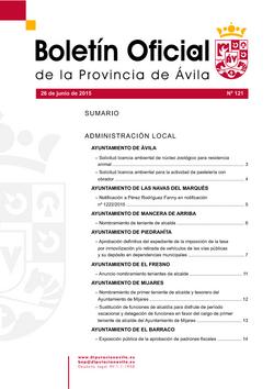 Boletín Oficial de la Provincia del viernes, 26 de junio de 2015