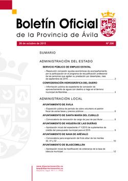 Boletín Oficial de la Provincia del lunes, 26 de octubre de 2015
