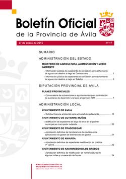 Boletín Oficial de la Provincia del martes, 27 de enero de 2015