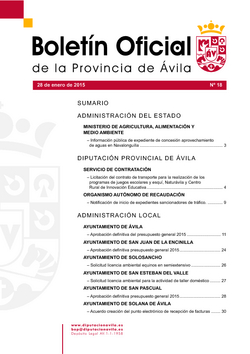 Boletín Oficial de la Provincia del miércoles, 28 de enero de 2015