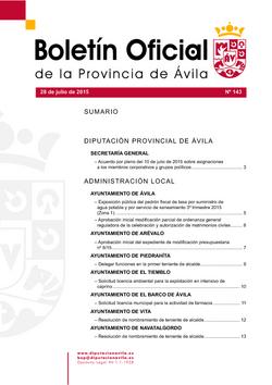 Boletín Oficial de la Provincia del martes, 28 de julio de 2015