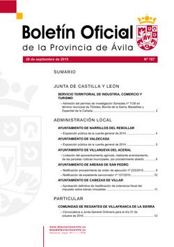 Boletín Oficial de la Provincia del lunes, 28 de septiembre de 2015